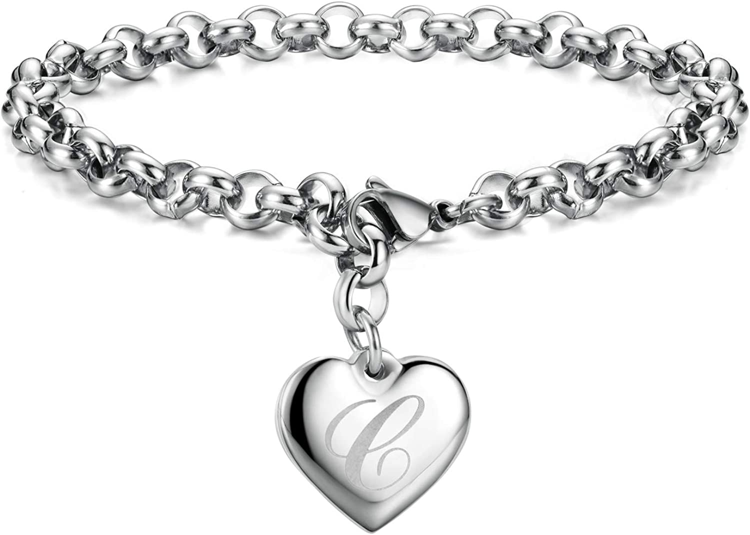 Mother's Day Gifts Initial Charm Bracelets Stainless Steel Heart 26 Letters Alphabet for Women