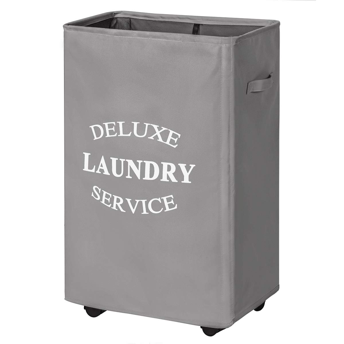 Chrislley 90L Rolling Laundry Hamper with Wheels Large Basket for Laundry Collapsible Clothes Hamper on Wheels (Grey) by Chrislley