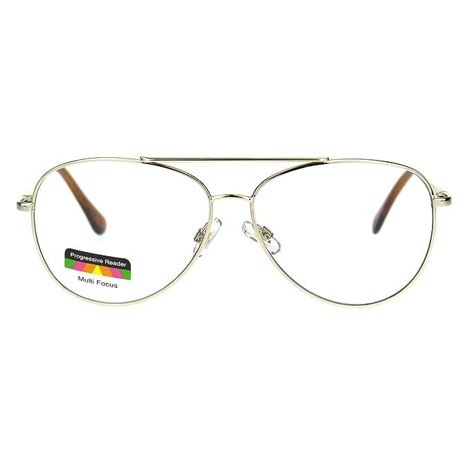 3e10a36da6 Mens Metal Rim Officer Pilot Multi 3 Power Focus Progressive Reading  Glasses (gold