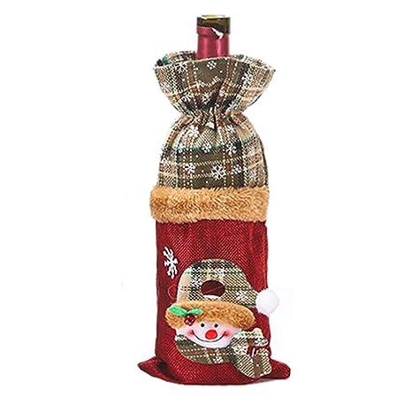 Fablcrew. 2 Bolsas de Yute para Botella de Vino de Navidad ...
