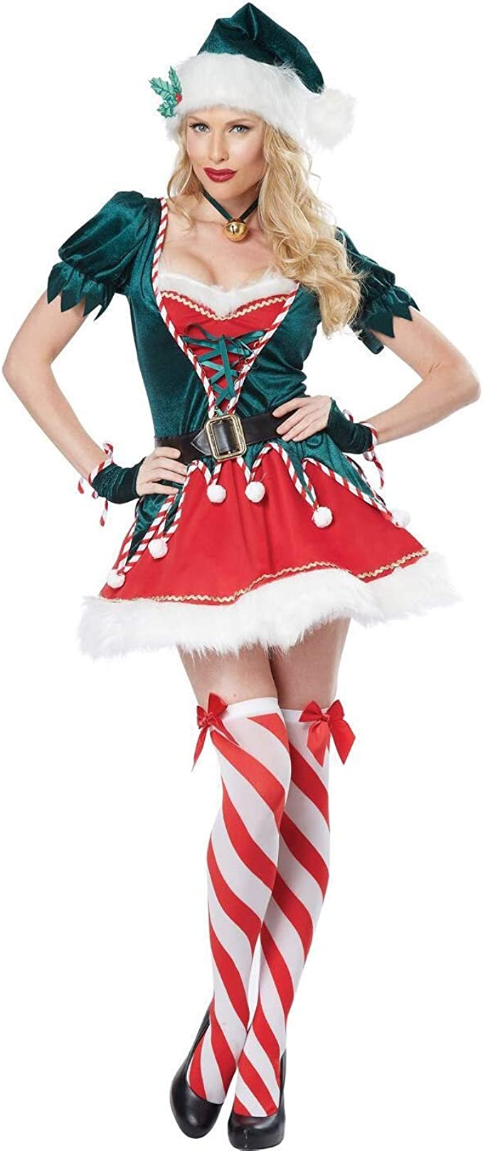 Elton Disfraz de Duende navideño para Mujer Vestido de Duende ...