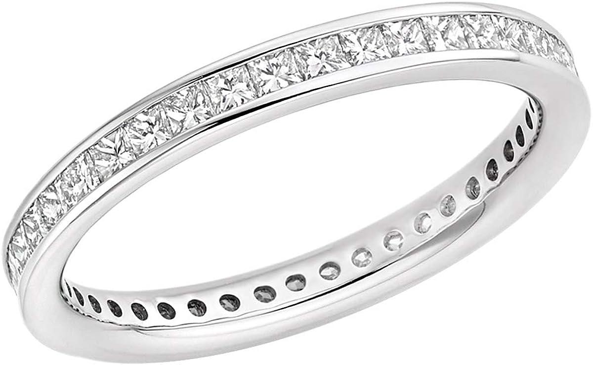 2.50 TCW Round Cut Simulated Diamond 10k White Gold Full Eternity Wedding Band Ring