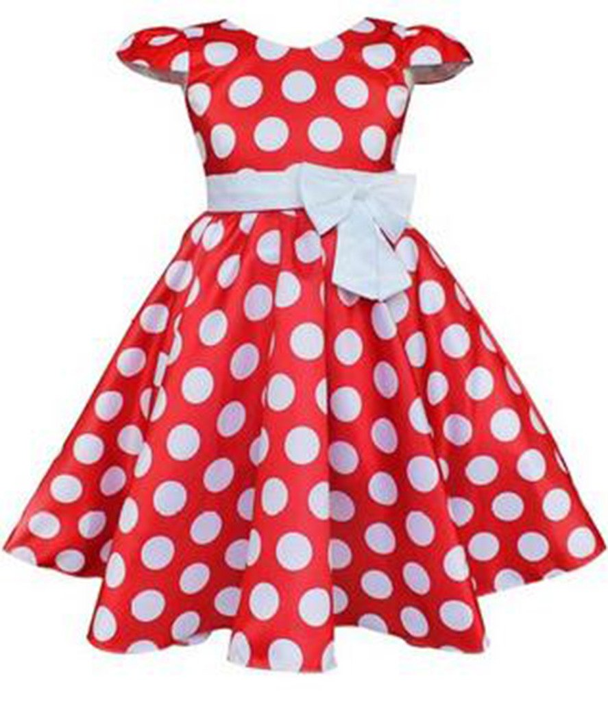 kids Showtime Little Girl Baby Special Occasion Bow Cotton Polka Dot Dress(Red,2T)