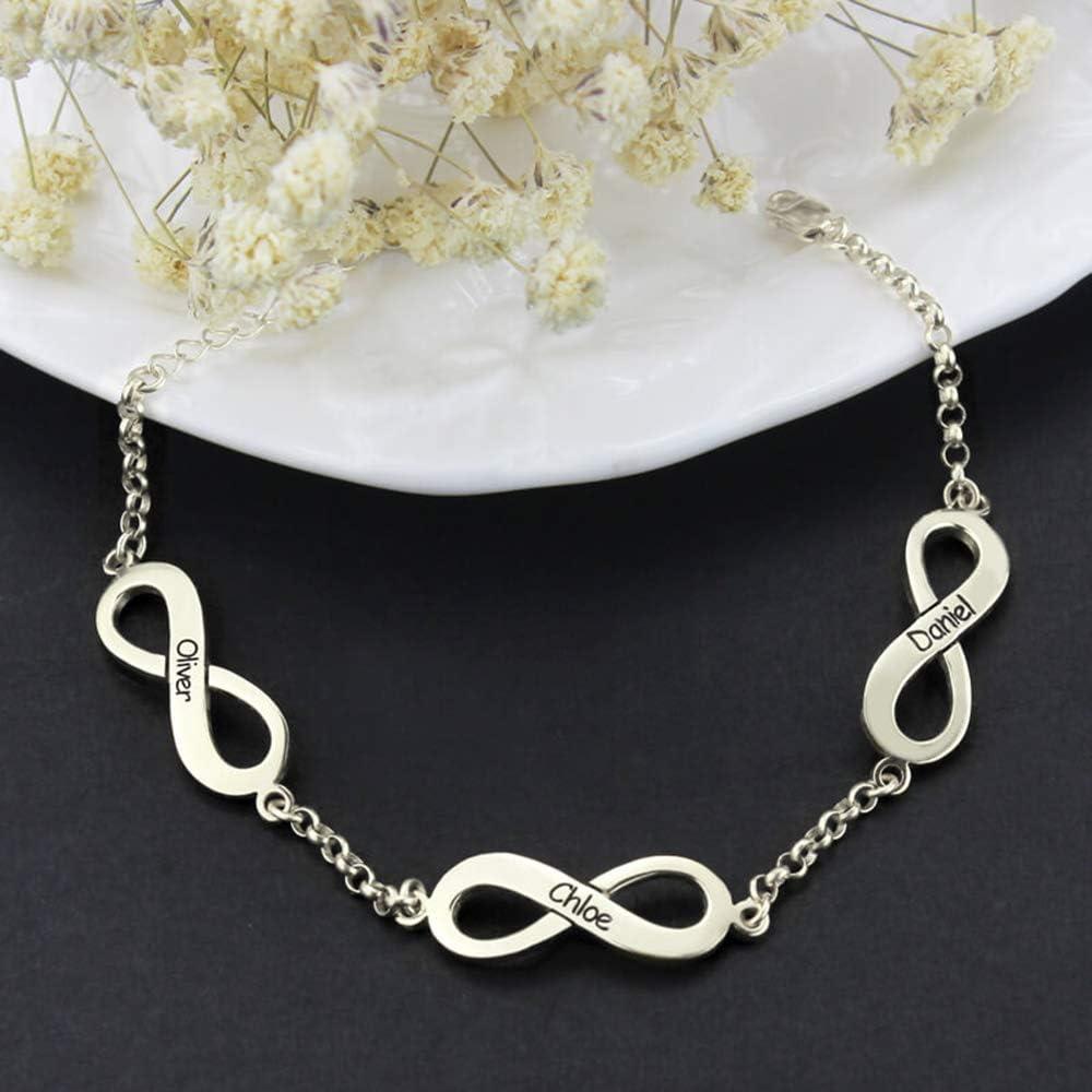 JinYin 925 Sterling Silver Custom Bracelet Personalized 3 Name Infinite Symbol Bracelet