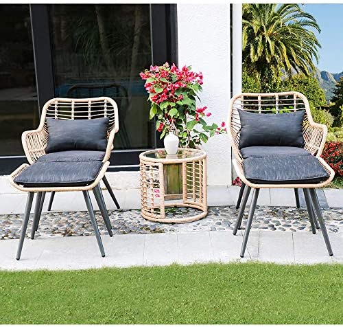 JOIVI 5 Piece Outdoor Wicker Furniture Set