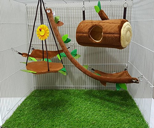 - Brown Sugar Pet Store 5 piece Sugar Glider Cage Set Timber Pattern Light Brown Color