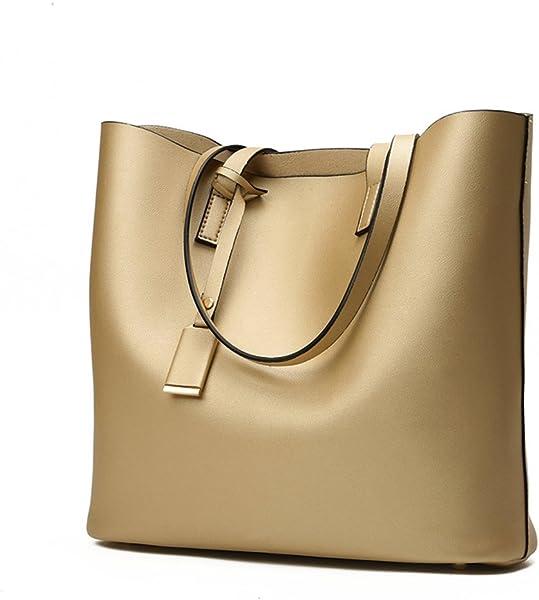f7888c12c09b Prime Sale Day Deals Week-Fashion Womens Leather Handbag Bucket Shoulder  Top-handle Bags Handbags Womens Totes Female Ladies Bag (gold)