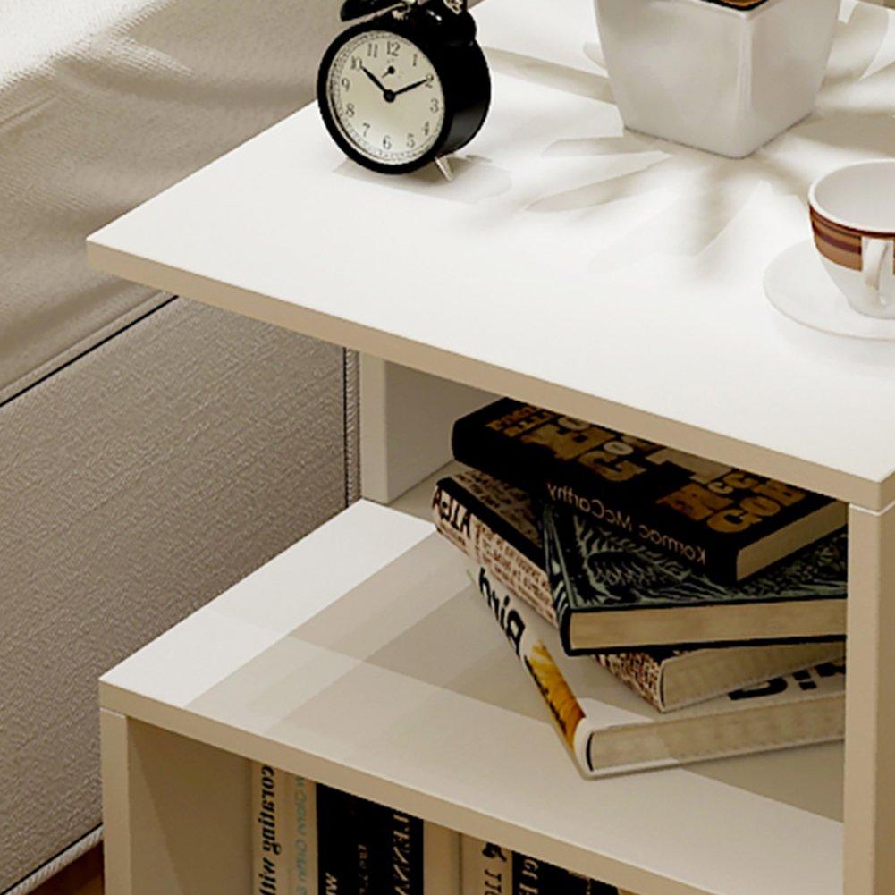 Personalidad Mesa de sof/á Dormitorio Mesa de Noche Sala de Estar Mesa de caf/é Vendimia Mesa de tel/éfono-Blanco D/&L Madera Impermeable Mesas auxiliares