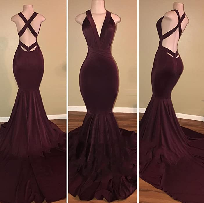 acad1febe97 VikDressy Women s Sexy Backless Mermaid Prom Dresses 2018 Long Velvet Evening  Gowns Black. Back. Double-tap to zoom