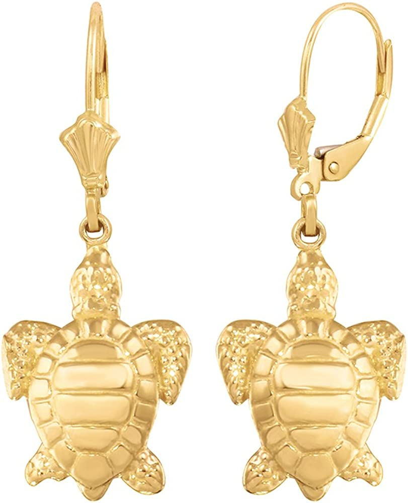 Sterling Silver and 14K Yellow Gold Leverback Turtle Honu Earrings