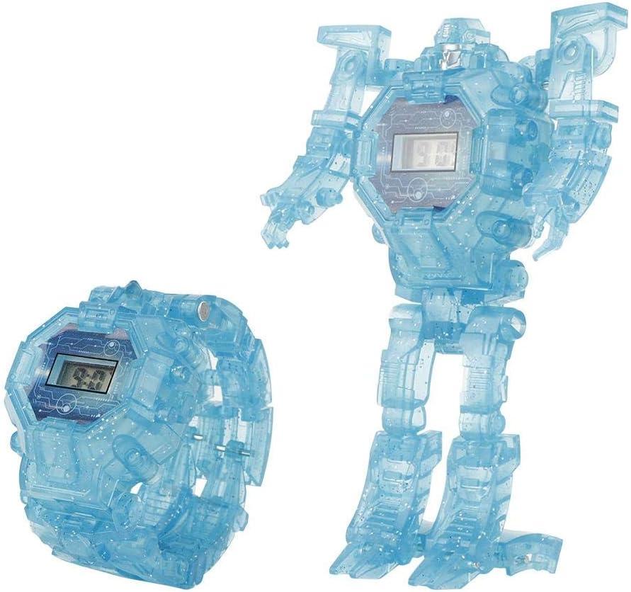 Juguete electrónico de la deformación del Reloj, Juguete del Robot del Reloj de la deformación de la luz 2-in-1 del Juguete de la transformación de la luz de los niños para los niños(Blue)