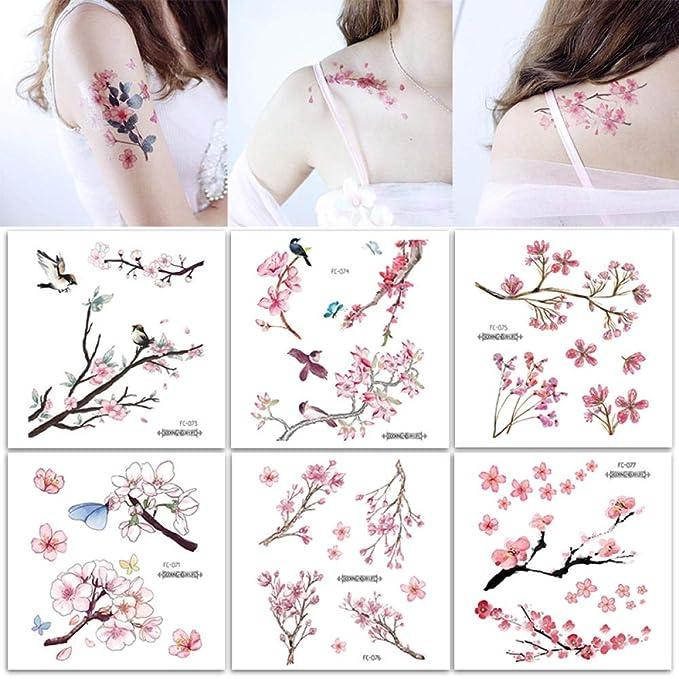 Moda hecha a mano dulce flor rosa tatuaje pegatina temporal ...