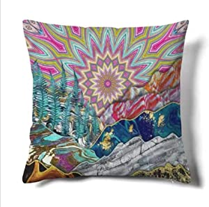 """HMS Happy Memories Decor Throw Pillow Cushion Cover Indian-Hippie-Gypsy Bohemian-Psychedelic Design Decorative Square Accent Pillow Case 1PCS (RED, 18""""x18"""")"""