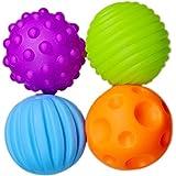 Westeng Balles Sensorielles Jeux de balles pour Bébé Enfant Doux au toucher Et poids léger - Lot de 4 Balles