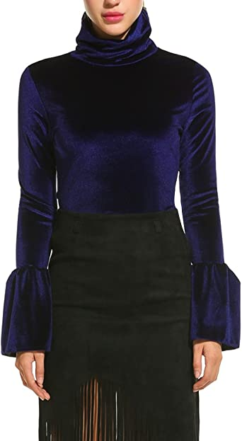 Rrive Women Turtleneck Solid Long Sleeve Velvet Top Blouse T-Shirt