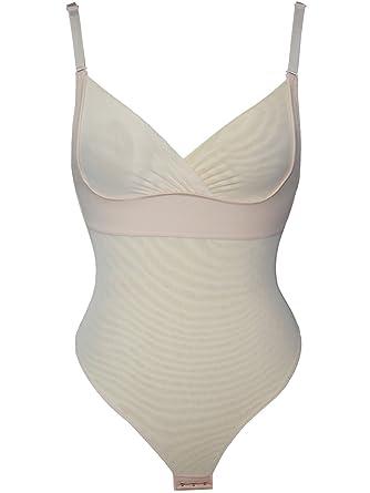 ef189887ae MisShow Women Racerback Stretchy Smooth Plunge Clubwear Romper Leotard  Shapewear(Nude