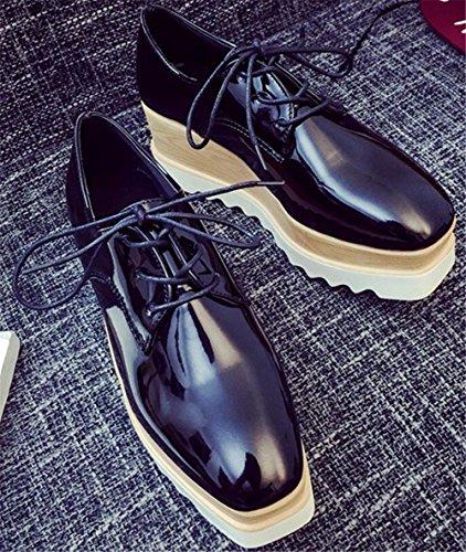 Oxford Shoes for Women,SATUKI Casual Platform Lace Up Wedges Heel Dress Shoe Black