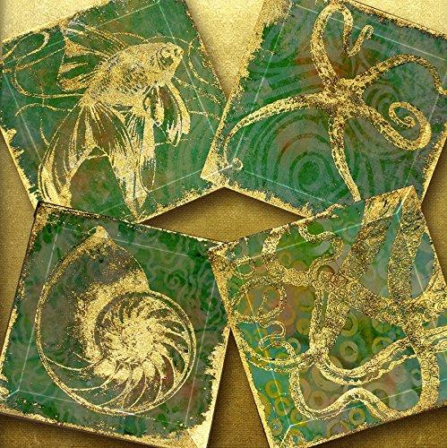 (Sea Foam Gold Foil Fish Starfish Octopus Shell Coasters - 4 or 5 inch Handmade Bevelled Glass FOILZ Coasters - Ocean LIghts 1)