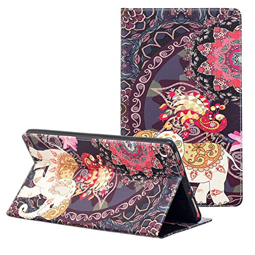 NOKEA Art Pattern Folio case Slim Lightweight Premium PU Leather Folding Stand with Auto Wake/Sleep Tablet case Replacement for Fire HD 8 Tablet (7th Generation, 2017 Release) (Elephant Floral) (Hd Zebra Fire Kindle Case 7 For)