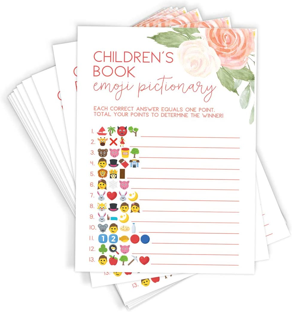 Rustic Floral Baby Shower Games Pink Baby Shower Games Package Baby Shower Emoji Pictionary Baby Shower Bingo Baby Shower Floral Game Set