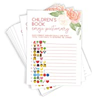 Emoji Baby Pictionary, Set of 50 Cards, Floral Baby Shower Game and Activity, Fun, Unique, and Easy to Play