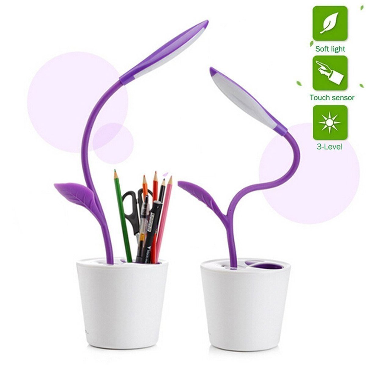 SheShy Flexible USB Touch LED Desk Lamp with 3-Level Dimmer and Decor Plant Pencil Anti-Myopia Professional Eye Protection Lamp Purple