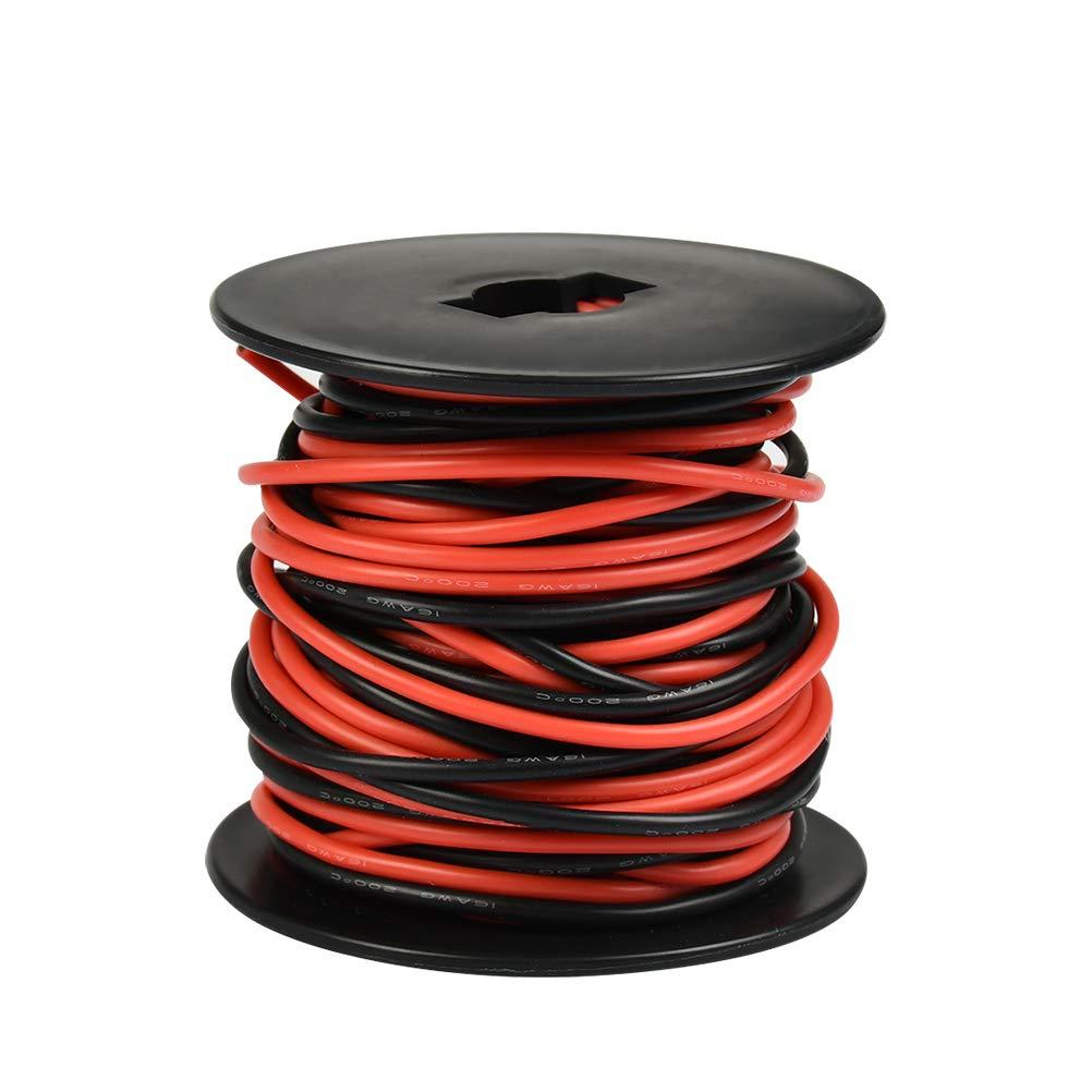 Rouge 10 m Noir 10 m WOWOSS Fil 16AWG en Silicone Souple