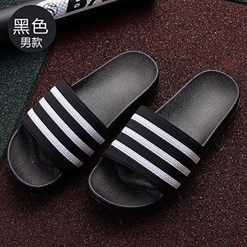 Negro1 elegante cool estancia Zapatillas de Rayas domésticos interiores grueso baño bañera y con desgaste par zapatillas DogHaccd zapatillas verano campo macho femenino EY1qFSww