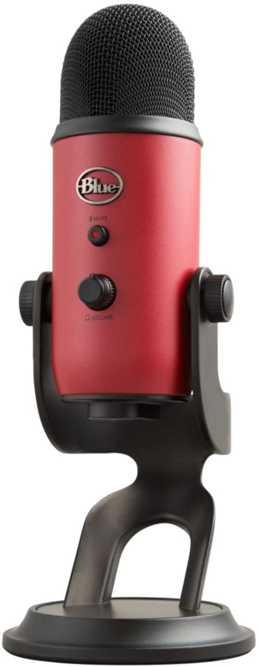 Blue Microphones Yeti - Micrófono USB para grabación y transmisión en PC y Mac, transmisión de juegos, llamadas de Skype, transmisión de Youtube, Plug and Play, color Rojo Satén