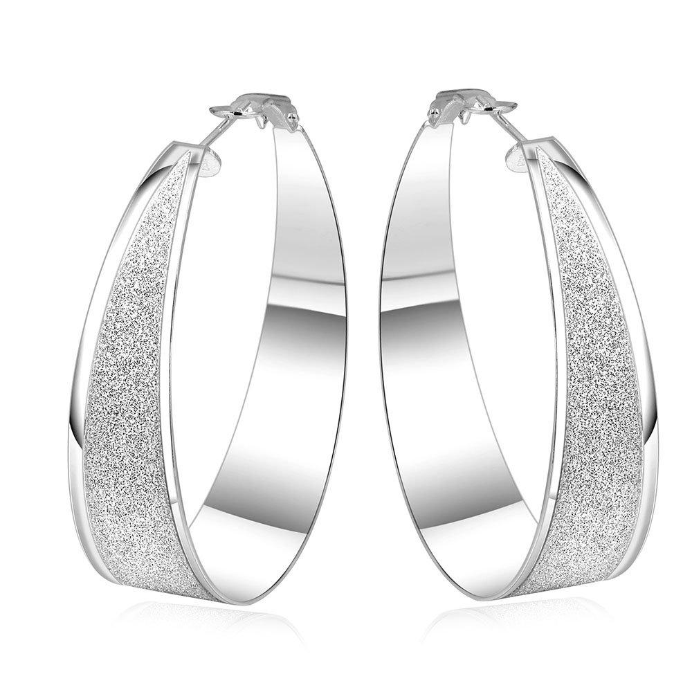 Styleziel 1701 Boucles d'oreilles créoles pour femmes avec incrustations aspect diamant, 45mm, Argenté