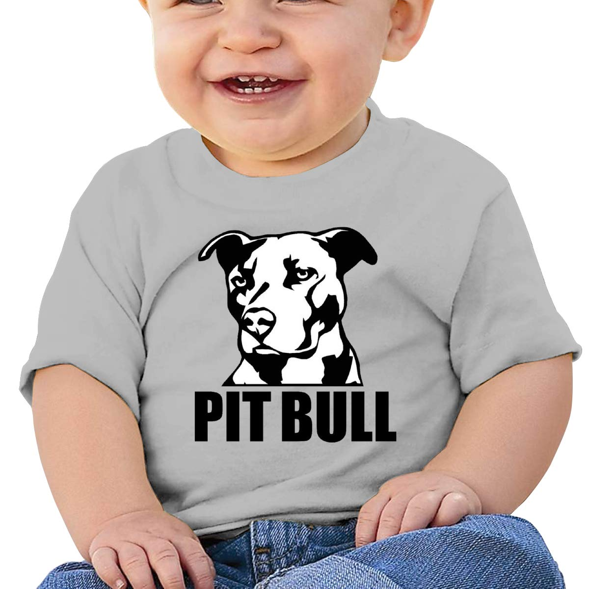 Pitbull Face Baby T-Shirt Infant Boy Girl Cotton T Shirts Cartoon Tops for 6M-2T Baby