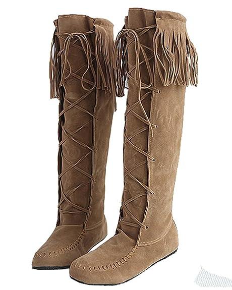 HiTime Botas Mocasines de Piel Vuelta Mujer, Color Amarillo, Talla 36: Amazon.es: Zapatos y complementos