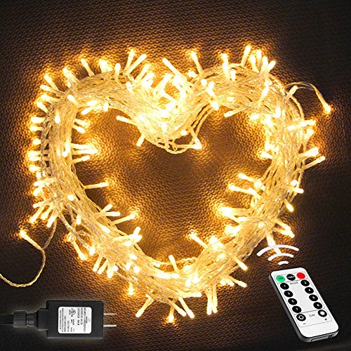 Adding Branches To Christmas Tree - Megulla 220 LED Indoor String Lights with Remote and Timer on 82ft Clear Wire for Decorations, Bedroom, Wedding, Christmas, Parties, Patio (8 Lighting Modes, Dimmable, Low Voltage Adapter, Warm White)