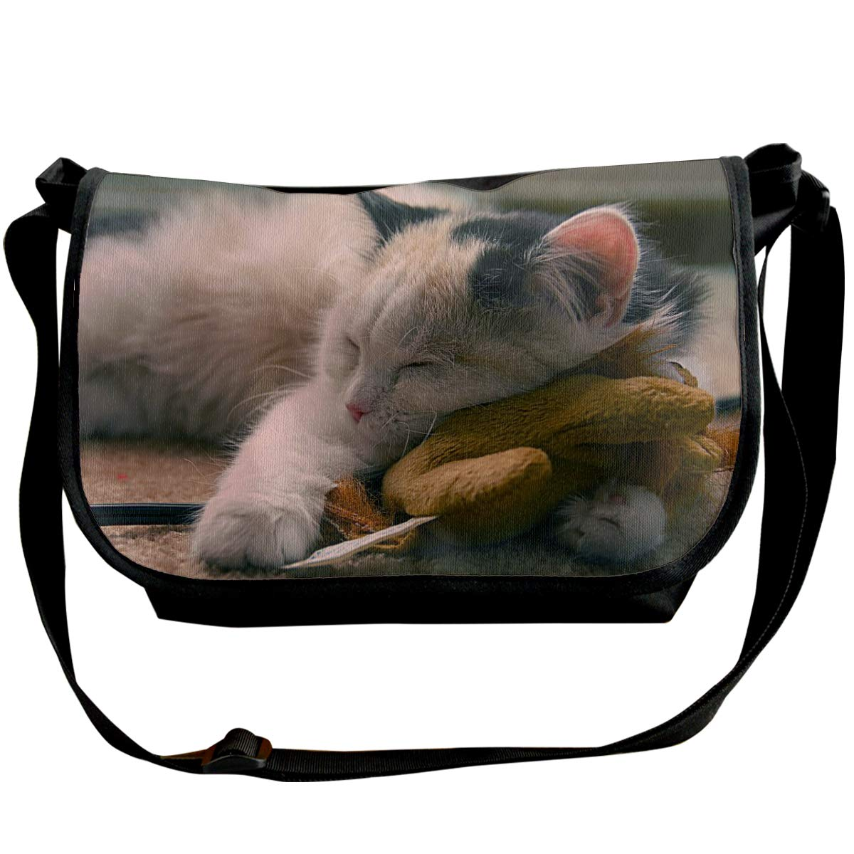 Taslilye Cat Cute Kitten Pet Sleeping Toy Personalized Wide Crossbody Shoulder Bag For Men And Women For Daily Work Or Travel