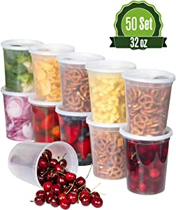 Safeware 32oz [50 Sets] Deli Plastic Food Storage Containers with Airtight Lids - Great for Slime, Soup Containers, Portion Control and Meal Prep | Microwave | Dishwasher | Freezer Safe | Leakproof |