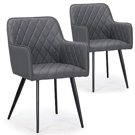Menzzo Clark sillas, sintética (P.U.), Gris, 54: Amazon.es ...
