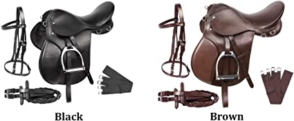 ENGLISH HORSE RIDING LEATHER BLACK BROWN SADDLE TRAIL 15 16 17 18 ALL PURPOSE