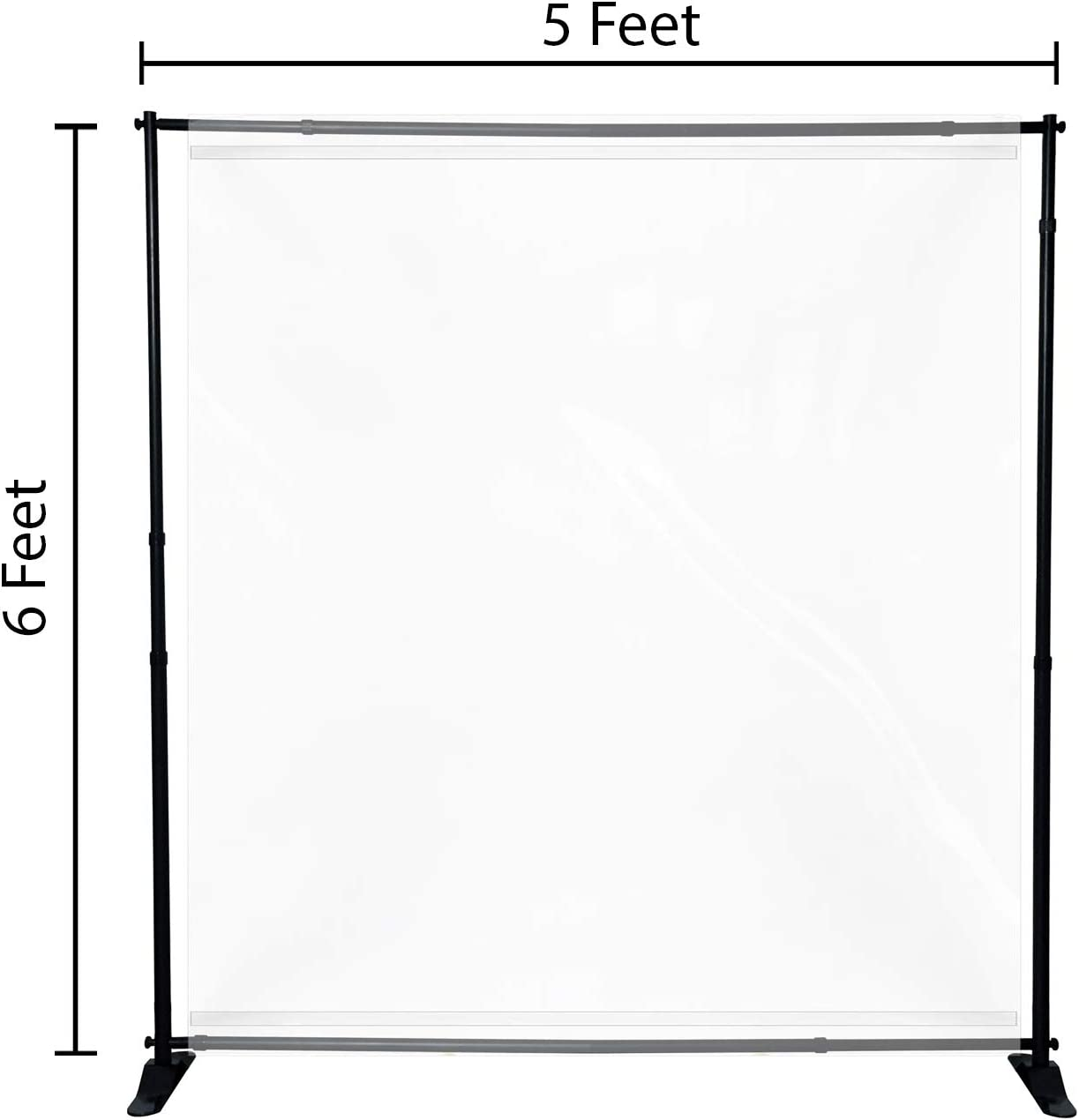 Floor Standing Sneeze Guard Free Standing Isolation Barrier Clear Film Protective Shield for Cafes Receptionist Retail Stores Cashier
