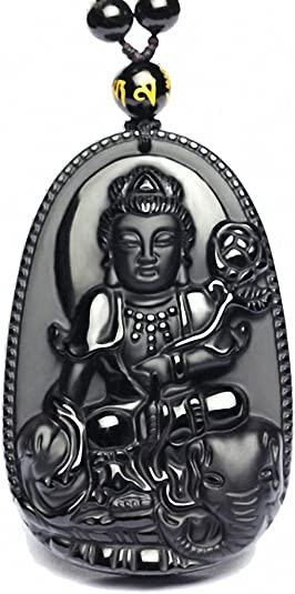 100/% Natural Black Obsidian Hand-carved Coin Buddha Lucky Pendant Necklace