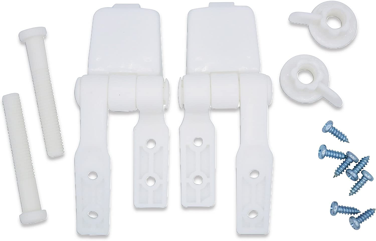 White Plastic Toilet Seat Hinge Replacement with Bolts Screw and