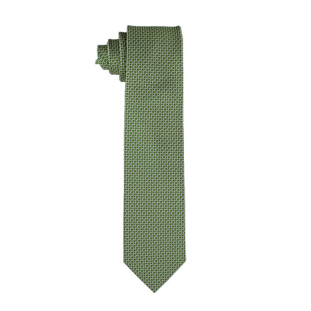 Corbata de hombre en seda verde con estampado geométrico: Amazon ...