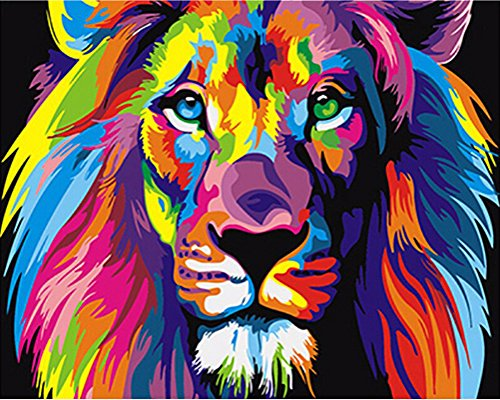 Abstract Cartoon Animal Anime DIY Digital Oil Painting Paint by Numbers Kit on Canvas Wall Art Decoration Picture (Unframed, Colorful Lion)