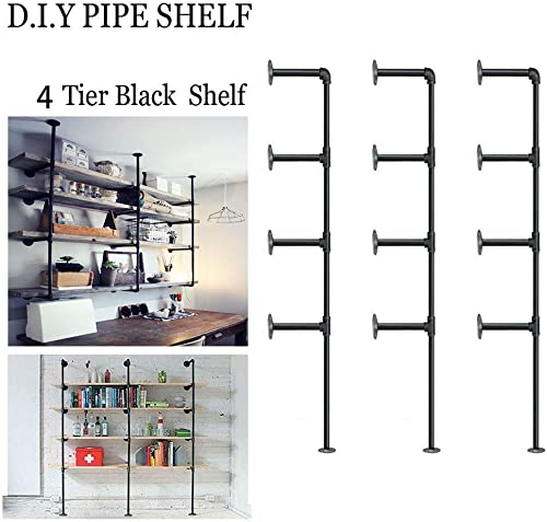 Kaler American Retro Industrial Style Decorative Bookcase Pipe Wooden Wall Shelves Rustic DIY Ceiling Pipe Shelf Wall Vintage Hung Bracket Industrial Shelves,Black Brush Silver 3pcs