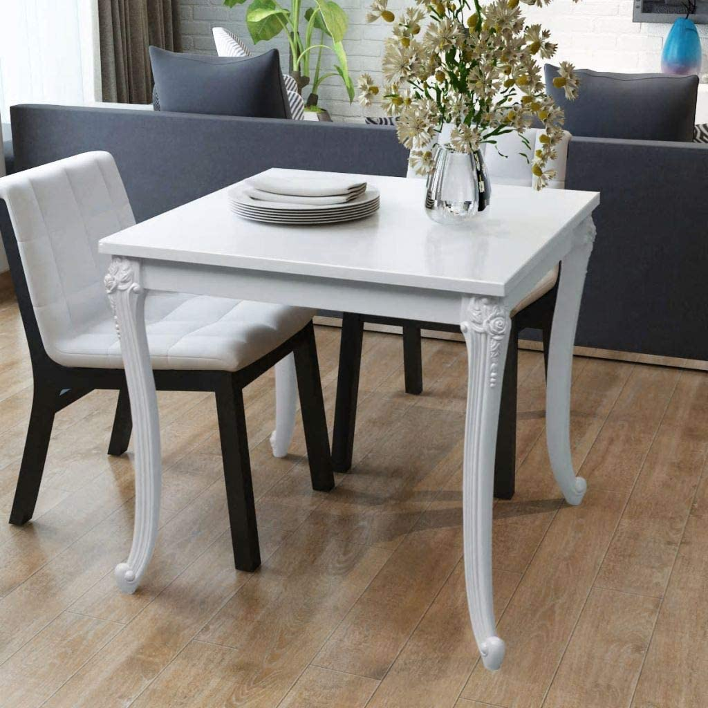 Amazon Com Dining Table High Gloss White Kitchen Table Dining Room Furniture 31 5 X31 5 X30 Tables