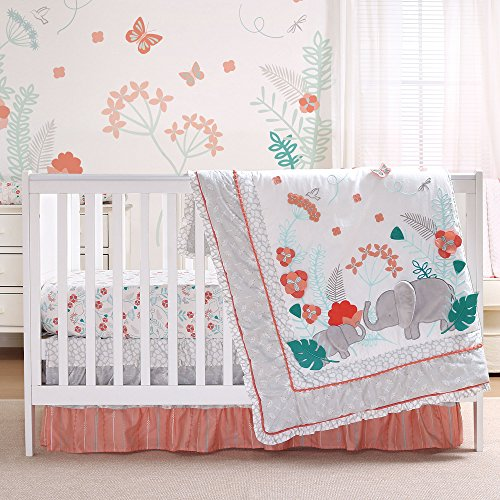 Safari Love 3 Piece Baby Girl Elephant Garden Crib Bedding Set by Peanut Shell