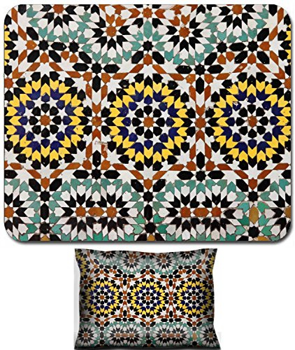 Luxlady Mouse Wrist Rest and Small Mousepad Set, 2pc Wrist Support design IMAGE: 20400507 Typical mosaic pattern of a moroccan fountain