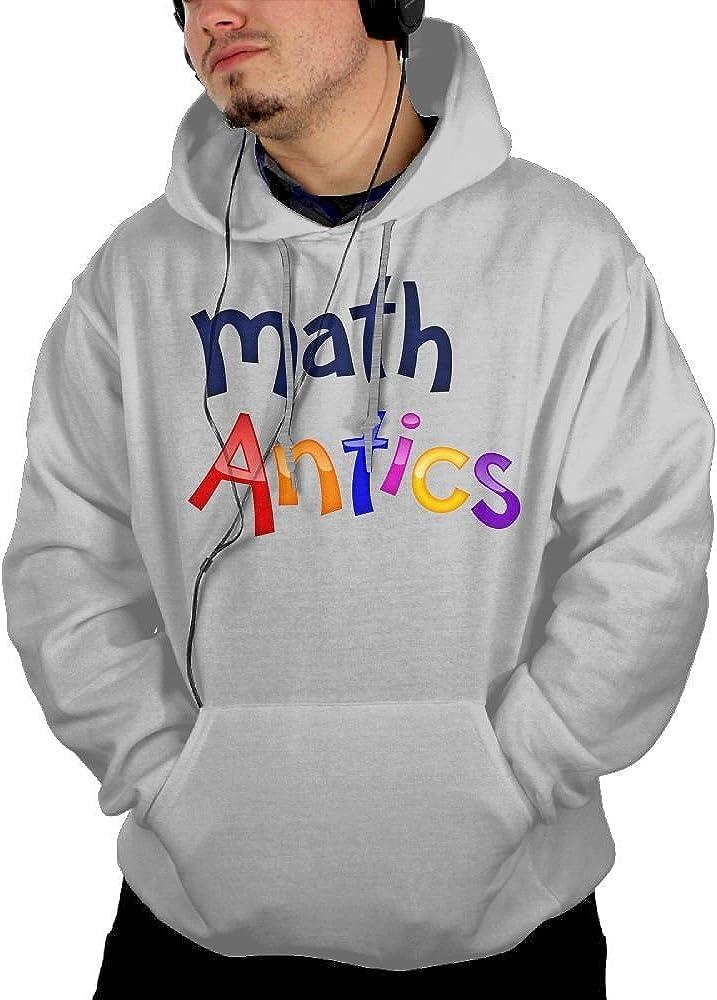 Obachi Math Antics Men's Cotton Long Sleeve Pullover Pocket Hooded Sweatshirt Ash
