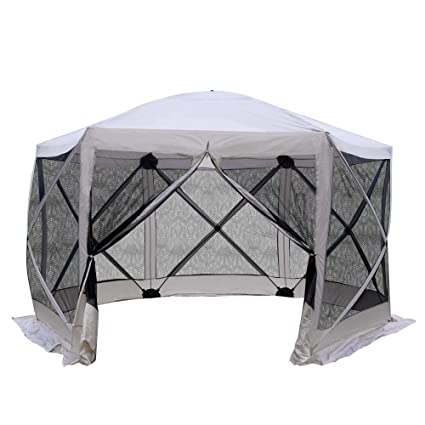 online store ffbef cc9bc Outsunny 12'x12' Pop Up Portable Gazebo 6-Sided Canopy Tent Hexagonal with  Mesh Netting Sidewalls