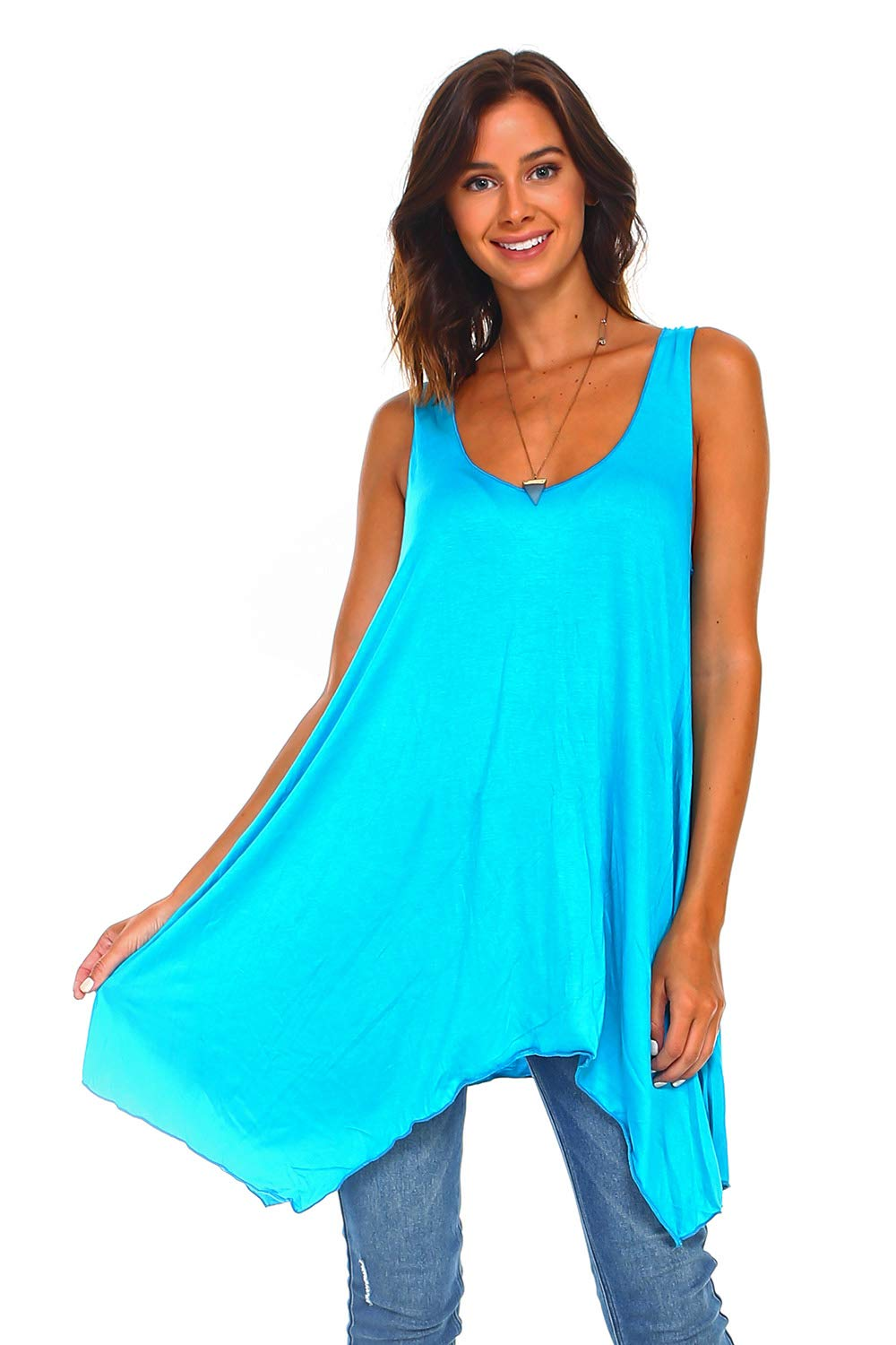Simplicitie Women's Sleeveless Swing Flare Tunic Dress Tank Top - Regular and Plus Size - Turquoise - Made in USA