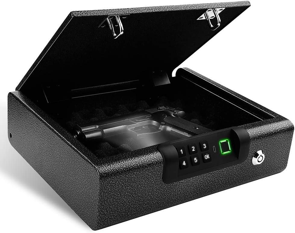 BILLCONCH Biometric Gun Safe, Smart Pistol Safe Two Gun Capacity Handgun Safe with APP, Car Safe Jewelry Box with Auto-Open Lid (Black)